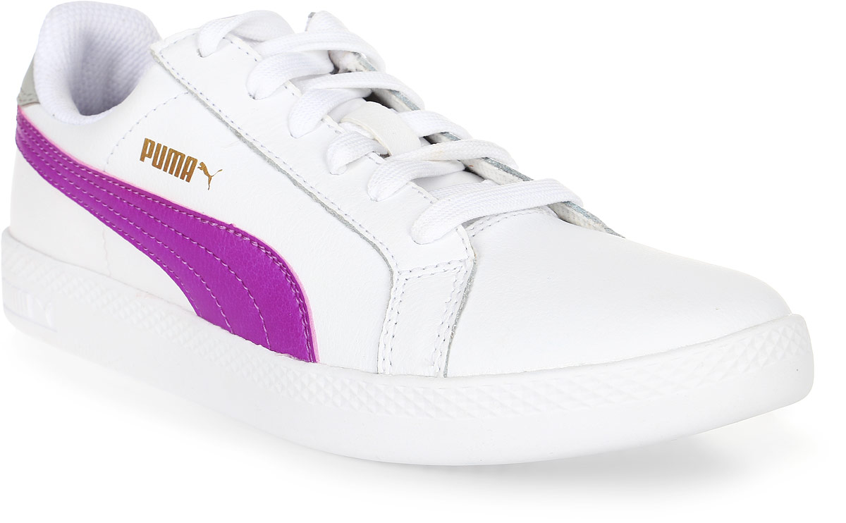 Кеды женские Puma Smash Wns L, цвет: белый, фуксия. 36078009. Размер 3,5 (35)36078009Модель Puma Smash Wns L для женщин сохраняет простоту и чистоту линий, свойственную классическим теннисным туфлям. Обувь фиксируется на ноге при помощи классической шнуровки. Верх из мягкой кожи с традиционной полосой придает модели женственный, нарядный и стильный облик и делает её отличным дополнением к повседневному гардеробу.