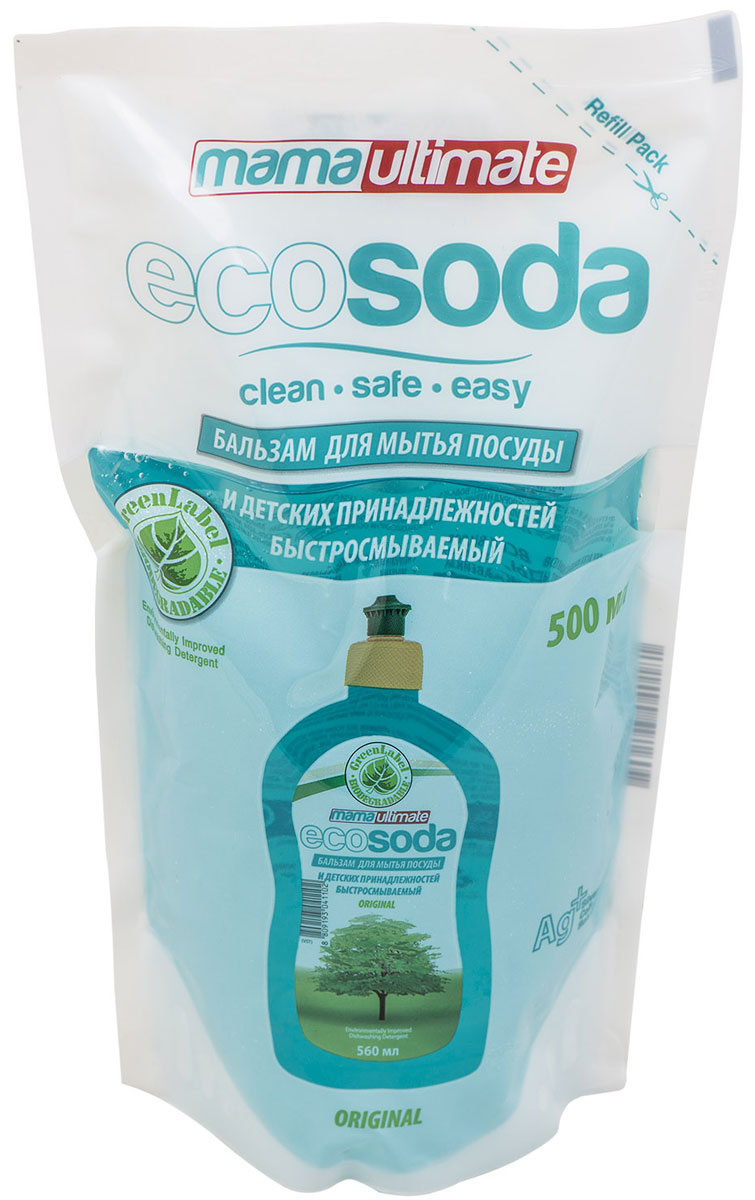 Бальзам для мытья посуды и детских принадлежностей EcoSoda Original, быстросмываемый, сменная упаковка, 500 мл