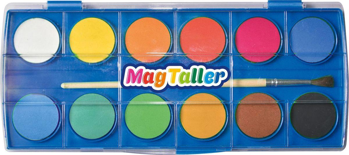 MagTaller Краски акварельные Akvarelli 12 цветов548102Краски акварельные MagTaller Akvarelli представлены в ярких насыщенных цветах.В комплекте кисть из натурального волоса.
