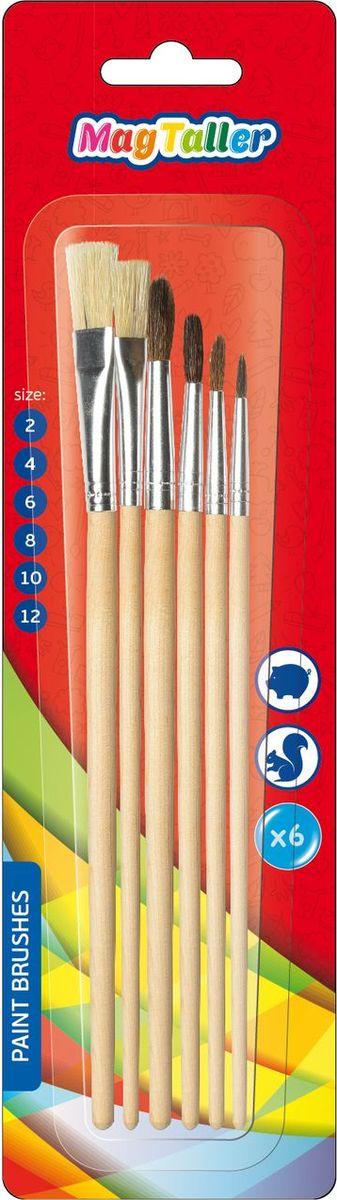 MagTaller Набор кистей Hapsi Set 6 шт548306Набор кистей MagTaller  Hapsi Set предназначен для рисования красками. Деревянный неокрашенный корпус, металлический обжим каждой кисти делает ее удобной и приятной на ощупь. Такой набор кистей должен быть у каждого школьника!