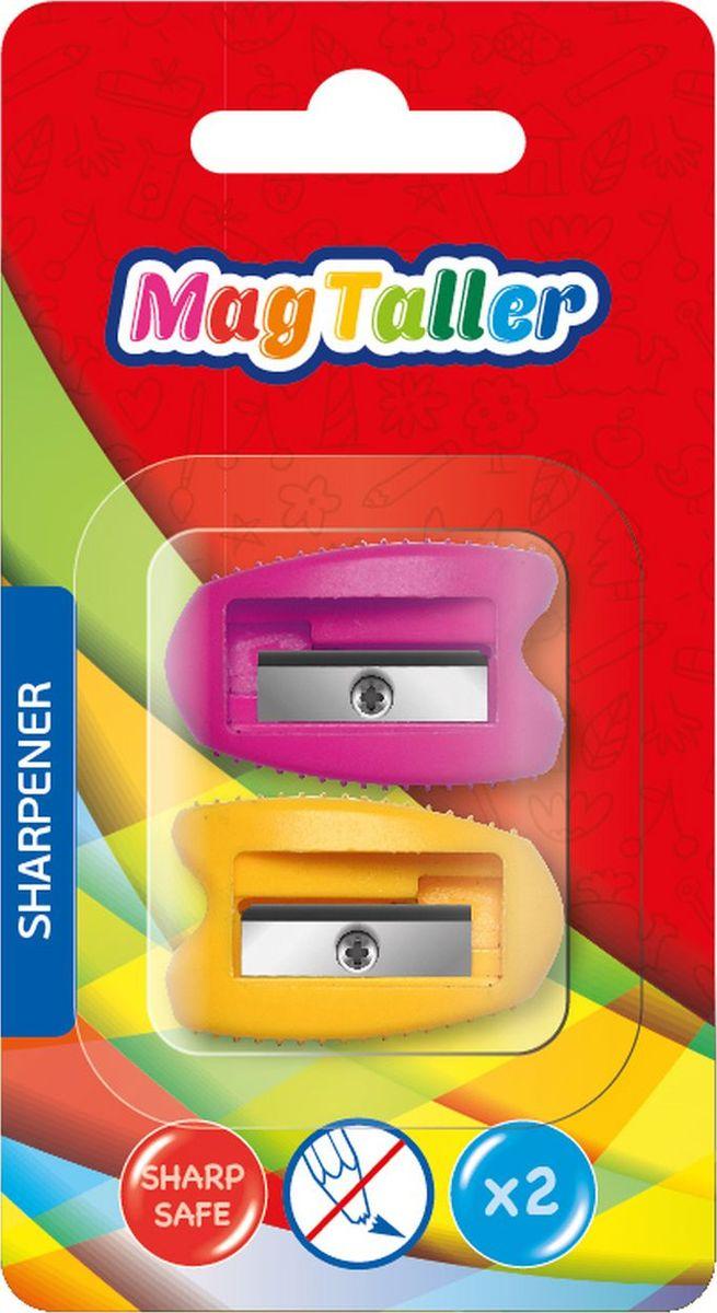 MagTaller Точилка Kyn цвет розовый оранжевый 2 шт604202Точилка MagTaller изготовлена из пластика с одним отверстием. Безопасное лезвие выполнено из нержавеющей стали. Точилка предназначена для всех типов карандашей.В наборе две точилки.