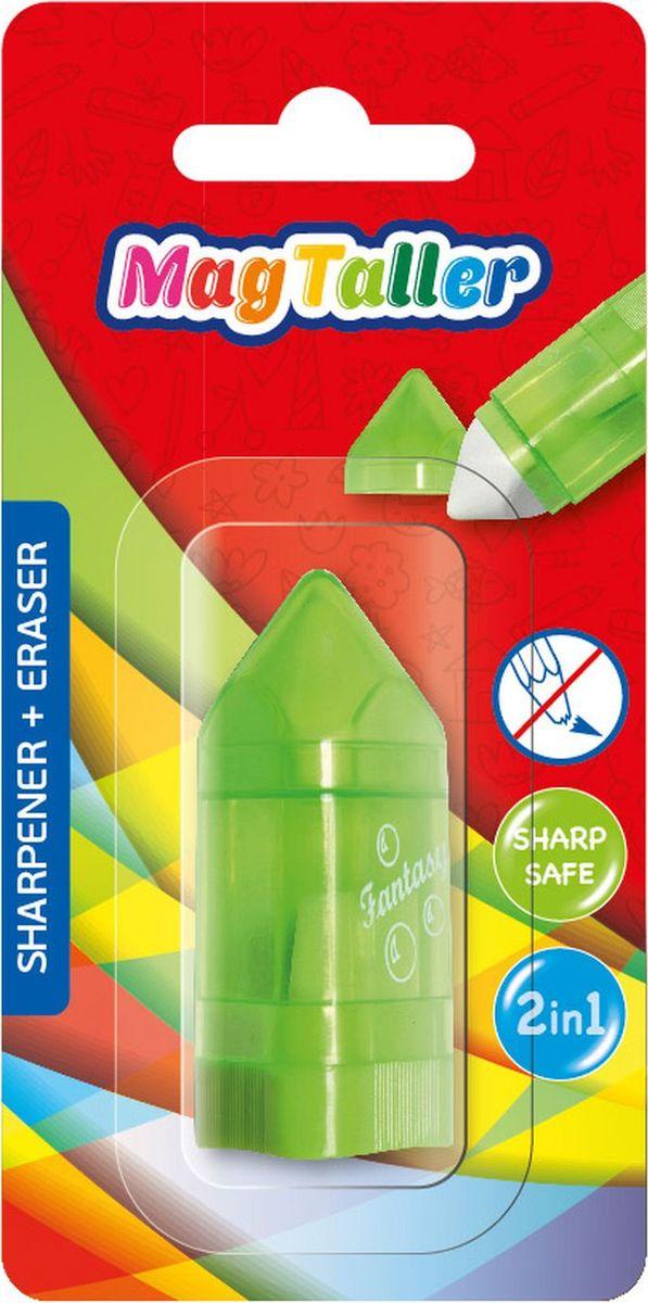 MagTaller Точилка Tupla с ластиком цвет зеленый604203Точилка MagTaller Tupla изготовлена с одним отверстием и оснащена контейнером для стружек и ластиком. Дизайн точилки напоминает трехгранный карандаш. Точилка предназначена для всех типов карандашей.