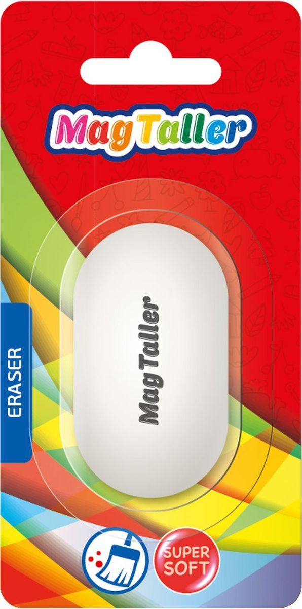 MagTaller Ластик Oval605005Супермягкий ластик MagTaller овальной формы станет прекрасным дополнением к канцелярскому набору для вашего ребенка, а также может пригодиться вам в офисе.