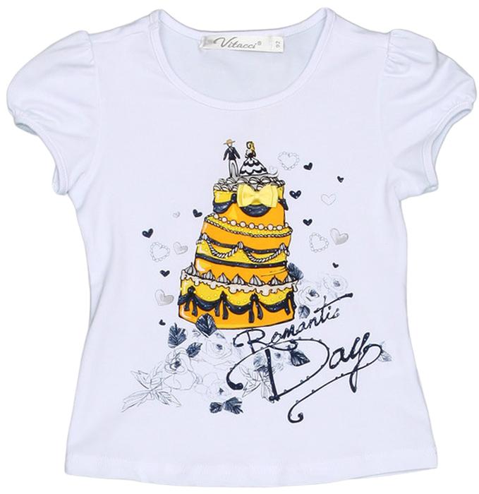 Футболка для девочки Vitacci, цвет: белый, желтый. 2152442-14. Размер 1162152442-14Замечательная футболка для маленькой модницы с оригинальным принтом отлично подойдет как для прогулки, так и для праздничного мероприятия.