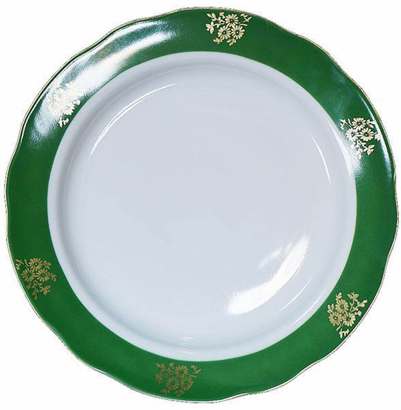 Тарелка мелкая Дулевский Фарфор Зеленый борт, диаметр 20 см