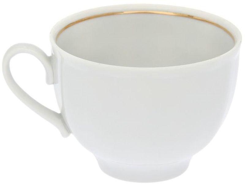 Чашка чайная Дулевский Фарфор Гранатовый. Отводка золотом, 275 мл