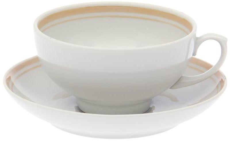 Чашка чайная Дулевский Фарфор Рубин. Отводка люстром, с блюдцем, 220 мл чашка с блюдцем wilmax 220 мл фарфор белый
