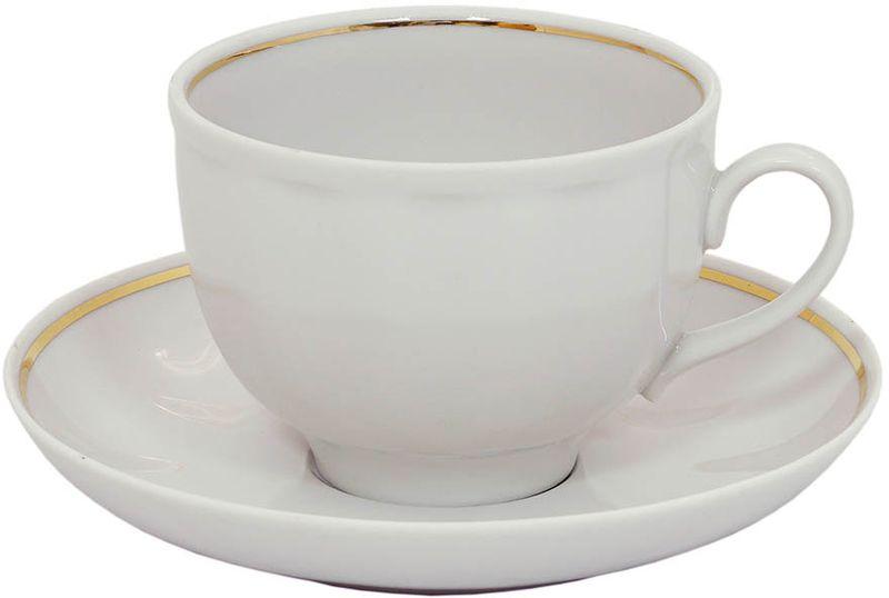 Чашка чайная Дулевский Фарфор Гранатовый. Отводка золотом, с блюдцем, 275 мл