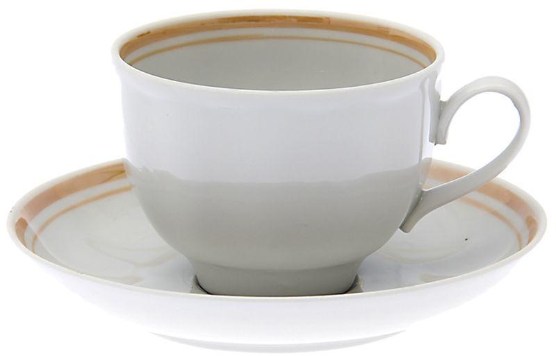 Чашка чайная Дулевский Фарфор Гранатовый. Отводка люстром, с блюдцем, 275 мл