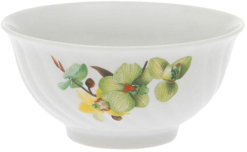Салатник Дулевский Фарфор Орхидея зеленая, 400 мл040612Салатник Дулевский Фарфор выполнен из высококачественного фарфора, покрытого глазурью. Такой салатник отлично подойдет для подачи салатов, закусок, нарезок. Он красиво дополнит сервировку стола и станет полезным приобретением для кухни.