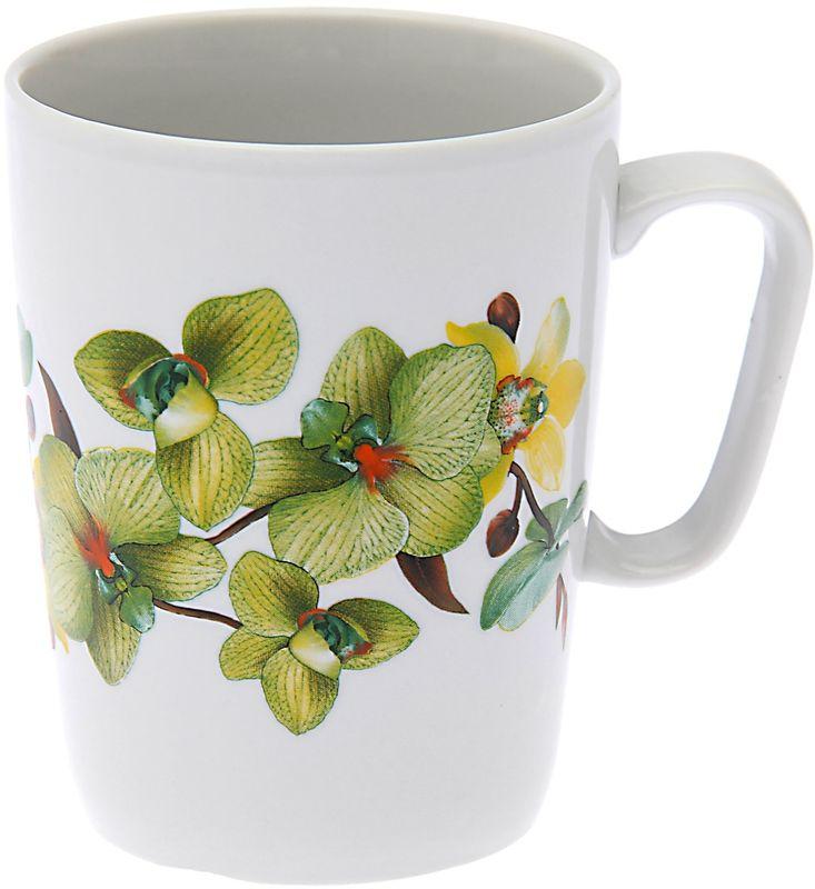 Кружка Дулевский Фарфор Конус. Орхидея зеленая, 350 мл кружка дулевский фарфор конус лилия 350 мл