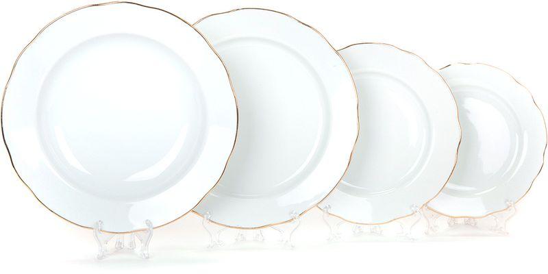 Набор тарелок Дулевский Фарфор Отводка золотом, 24 шт набор обеденных тарелок esprado mariposa диаметр 24 5 см 6 шт