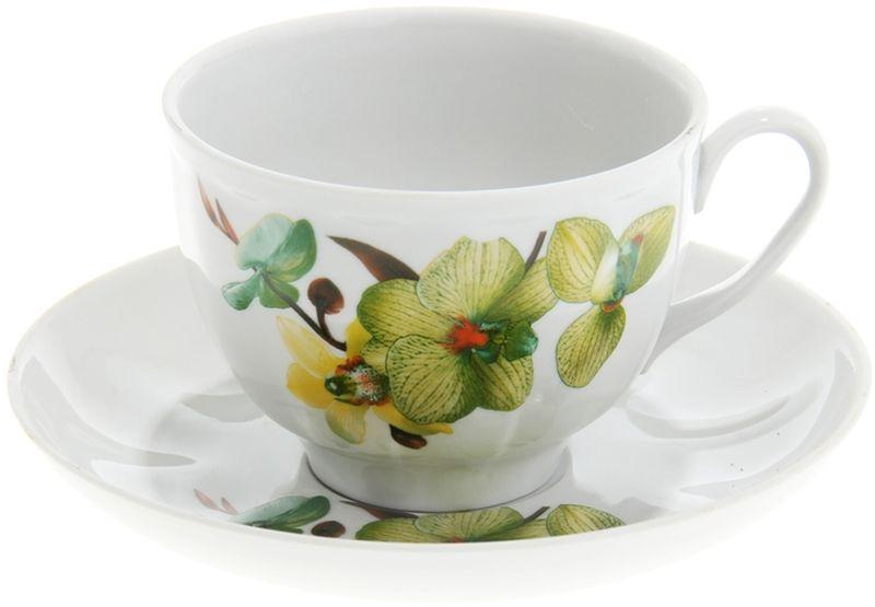 Чашка чайная Дулевский Фарфор Гранатовый. Орхидея зеленая, с блюдцем, 275 мл057282Чашка с блюдцем Дулевский Фарфор выполнены из высококачественного фарфора. Посуда из такого материала позволяет сохранить истинный вкус напитка, а также помогает ему дольше оставаться теплым.