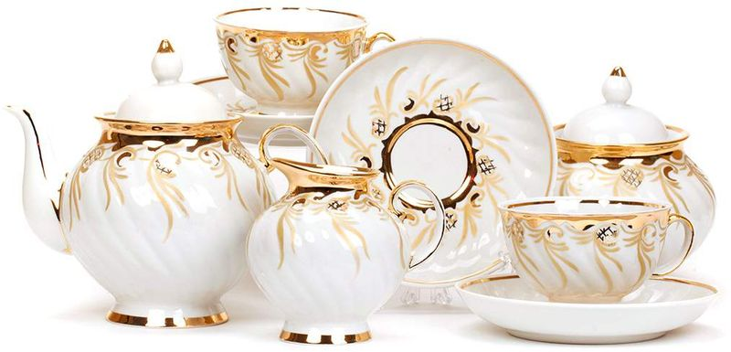 Сервиз чайный Дулевский Фарфор Голубая роза. Золотистый, 15 предметов agness сервиз sabrina 800 мл
