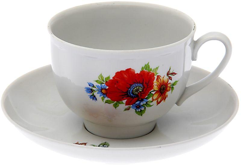 Чашка чайная Дулевский Фарфор Гранатовый. Полевой мак , с блюдцем, 275 мл
