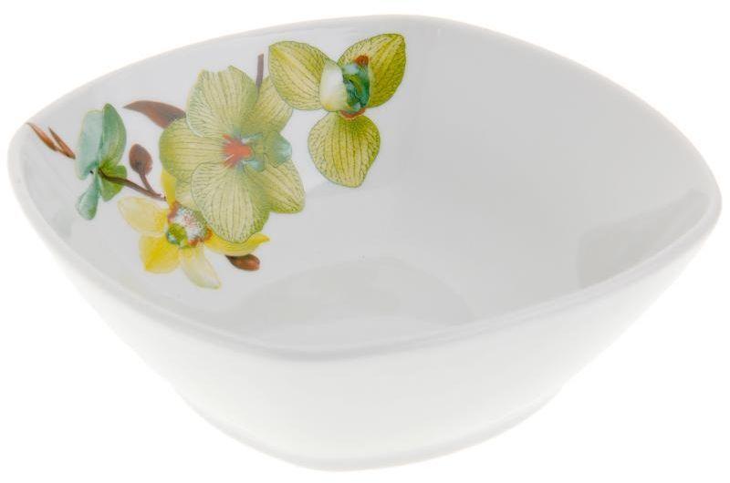 Салатник Дулевский Фарфор Орхидея зеленая , квадратный, 300 мл066832Квадратный салатник Дулевский Фарфор выполнен из высококачественного фарфора, покрытого глазурью. Такой салатник отлично подойдет для подачи салатов, закусок, нарезок. Он красиво дополнит сервировку стола и станет полезным приобретением для кухни.