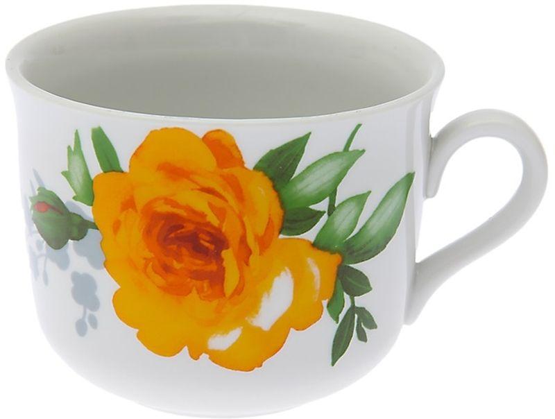 Чашка чайная Дулевский Фарфор Ностальгия. Роза без отводки, 450 мл067622Чашка Дулевский Фарфор выполнена из высококачественного фарфора и оформлена оригинальным рисунком. Посуда из такого материала позволяет сохранить истинный вкус напитка, а также помогает ему дольше оставаться теплым.