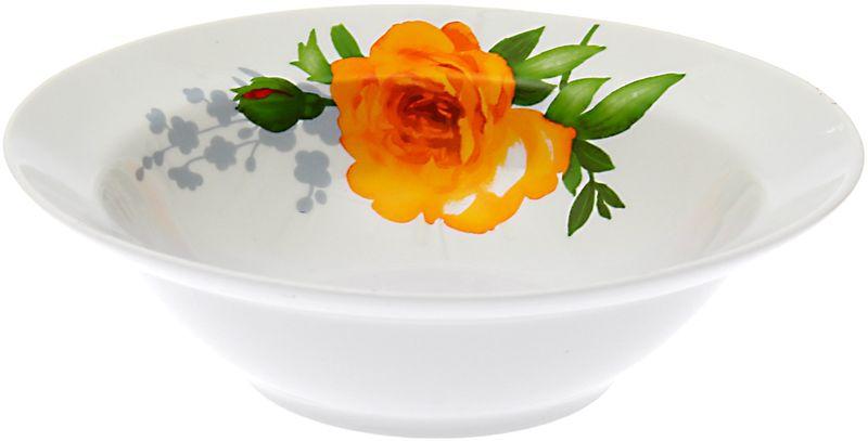 Миска Дулевский Фарфор Роза, 500 мл067682Миска Дулевский Фарфор Роза выполнена из высококачественного фарфора, покрытого глазурью. Изделие дополнено красочным цветочным рисунком. Такая миска пригодится на любой кухне. В ней можно сервировать различные блюда или использовать как суповую тарелку.