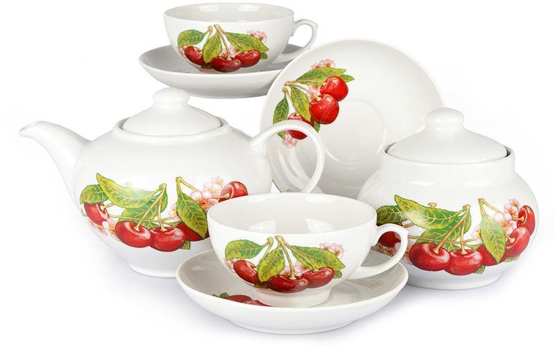 Сервиз чайный Дулевский Фарфор Дачный. Вишня, 14 предметов072702Чайный сервиз Дулевский фарфор Дачный. Вишня состоит из 6 чашек, 6 блюдец, сахарницы и заварочного чайника. Изделия, выполненные из высококачественного фарфора, имеют изящный дизайн.Такой набор прекрасно подойдет как для повседневного использования, так и для праздников. Чайный сервиз Дулевский фарфор Дачный. Вишня - это не только яркий и полезный подарок для родных и близких, а также великолепное решение для вашей кухни или столовой.Объем чашки: 220 мл. Диаметр блюдца (по верхнему краю): 14 см.Объем чайника: 800 мл. Объем сахарницы: 500 мл.