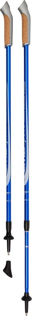 Палки для скандинавской ходьбы CMD Sport, телескопические, цвет: синий, L-XL, длина 90-140 см, 2 штCMD-blue-L-XLТелескопические алюминиевые палки для скандинавской ходьбы CMD Sport синего цвета. Палки состоят из двух секций, и имеют размер 87 см в сложенном виде. Такие палки удобны при транспортировке, их можно положить в чехол или оставить в автомобиле до очередного занятия.Палки для скандинавской ходьбы CMD Sport выполнены из прочного алюминия, и прекрасно подойдут новичкам для освоения правильной техники скандинавской ходьбы. Каждая пара палок укомплектована резиновыми наконечниками для ходьбы по асфальту. При занятиях в парке на грунте, песке или по снегу можно использовать металлические наконечники, которые изготовлены из вольфрама, и прослужат вам не один сезон. Ручки скандинавских палок CMD Sport эргономичной формы и изготовлены из пластика со вставкой из натуральной пробки, что обеспечит комфорт при занятиях в любую погоду. Темляки телескопических палок CMD Sport являются быстросъемными. Вы можете отстегнуть руку с темляком от ручки палки за пару секунд и сделать несколько упражнений или ответить на срочный звонок.Палки для финской ходьбы CMD Sport легки в использовании и практичны, благодаря телескопической конструкции могут быть использованы ходоками с разным ростом. Они станут прекрасным подарком близким людям.Основной цвет: синий Высота: регулируемая (телескоп.)Размер: 90-140 см Состав: алюминиевый сплавРучка: PP with cork (полипроп./пробка)Темляк: ComFit C, съемныйРазмер темляка: S/M или L/XLНаконечник: Несъемный металлический для грунтаНасадка: резиновый башмакНе подлежит обязательной сертификации Срок службы 5 летГарантия на палки для скандинавской ходьбы действует в течение 30 дней с момента покупки, распространяется только на древко палок, не распространяется на комплектующие принадлежности (темляки, наконечники).Гарантийным случаем не является:- неисправность, возникшая по вине Покупателя (неправильная эксплуатация, несоблюдение техники скандинавск