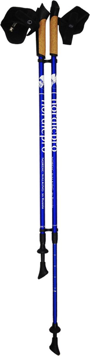 Палки для скандинавской ходьбы NordicPro, телескопические, цвет: синий, S-M, длина 80-135 см, 2 штNordicPro-blue-S-MПалки для скандинавской ходьбы NordicPro синего матового цвета - это 2-секционные телескопические палки из облегченного алюминия со съемными темляками. Нижняя секция палок имеет насечки согласно росту ходока. Вы просто выставляете значение вашего роста, и фиксируете палку.Высокое качество и доступная цена палок для северной ходьбы NordicPro являются решающими факторами при покупке.Ручки палок выполнены из пластика со вставкой из натуральной пробки, комфорт и удобство при занятиях в любую погоду. Съемный темляк позволяет быстро отстегнуть руку от ручки палок. В комплект палок NordicPro входят резиновые башмаки для ходьбы по асфальту и твердому грунту. Палки можно легко и быстро настроить на нужную высоту. Для удобной транспортировки палок можно использовать чехол, например, функциональный чехол с фиксацией на поясе или чехол-колчан для переноски палок на плече.Основной цвет: синийВысота: регулируемая (телескоп.)Размер: 78-135 смСостав: алюминиевый сплавРучка: PP with cork (полипроп./пробка)Темляк: ComFit C, съемныйРазмер темляка: S/M или L/XLНаконечник: Несъемный металлический для грунтаНасадка: резиновый башмакНе подлежит обязательной сертификацииСрок службы 5 летГарантия на палки для скандинавской ходьбы действует в течение 30 дней с момента покупки, распространяется только на древко палок, не распространяется на комплектующие принадлежности (темляки, наконечники). Гарантийным случаем не является:- неисправность, возникшая по вине Покупателя (неправильная эксплуатация, несоблюдение техники скандинавской ходьбы, механические повреждения и т.п.). - повреждение/утеря/износ комплектующих частей, в том числе: темляки, наконечники. Продавец не несет ответственности за неправильное понимание и применение полученной учебной информации, которые могут нанести вред здоровью Покупателя или стать причиной поломки палок! Палки следует использовать только по назначе