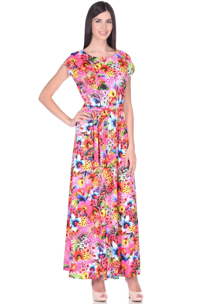 Платье жен EseMos, цвет: розовый, зеленый, желтый. 103. Размер 44103Великолепное платье в пол, изготовленное из струящегося материала масло в изысканной современной расцветке. Женственный силуэт без рукавов, изящно присобран по талии на мягкую резиночку, образуя плавные ниспадающие складочки по юбке макси. Талию подчеркивает пояс завязка, придает свою изюминку, делая образ совершенным. Платье в пол популярно в этом сезоне. Модель превосходно садится, красиво обрисовывая фигуру, визуально корректирует силуэт, делая образ более стройным и привлекательным.