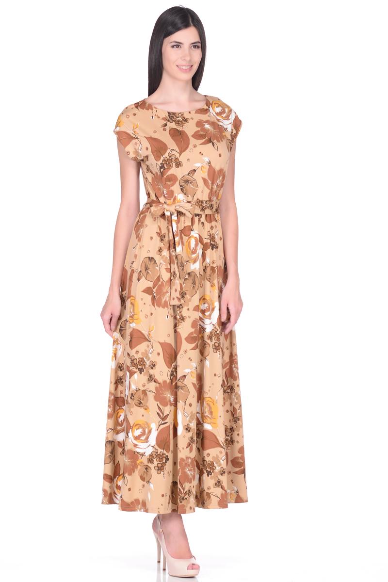 Платье EseMos, цвет: бежевый, светло-коричневый. 103. Размер 42103Великолепное платье EseMos в пол, изготовленное из струящегося материала масло в изысканной современной расцветке. Женственный силуэт без рукавов, изящно присобран по талии на мягкую резинку, образуя плавные ниспадающие складки по юбке-макси. Талию подчеркивает пояс-завязка, придает свою изюминку, делая образ совершенным. Платье в пол популярно в этом сезоне. Модель превосходно садится, красиво обрисовывая фигуру, визуально корректирует силуэт, делая образ более стройным и привлекательным.