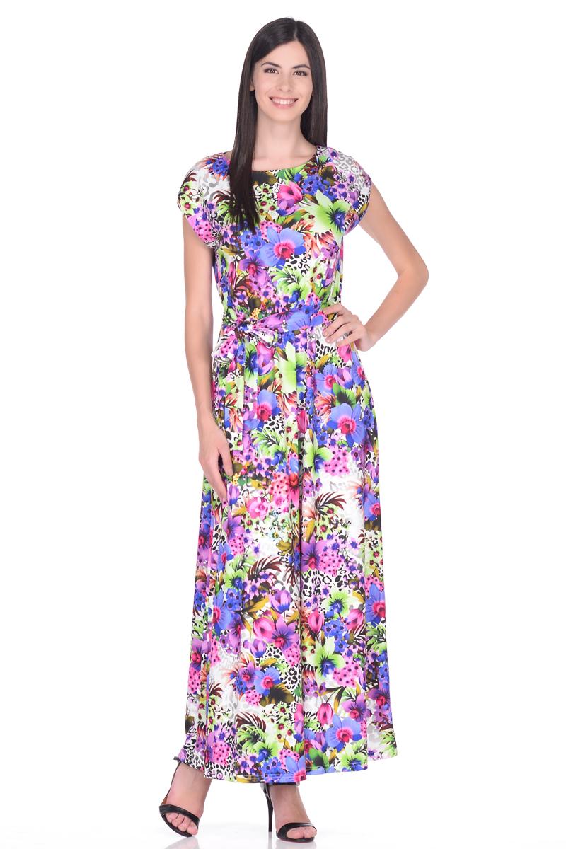 Платье EseMos, цвет: розовый, фиолетовый, зеленый. 103. Размер 42103Великолепное платье EseMos в пол, изготовленное из струящегося материала масло в изысканной современной расцветке. Женственный силуэт без рукавов, изящно присобран по талии на мягкую резинку, образуя плавные ниспадающие складки по юбке-макси. Талию подчеркивает пояс-завязка, придает свою изюминку, делая образ совершенным. Платье в пол популярно в этом сезоне. Модель превосходно садится, красиво обрисовывая фигуру, визуально корректирует силуэт, делая образ более стройным и привлекательным.