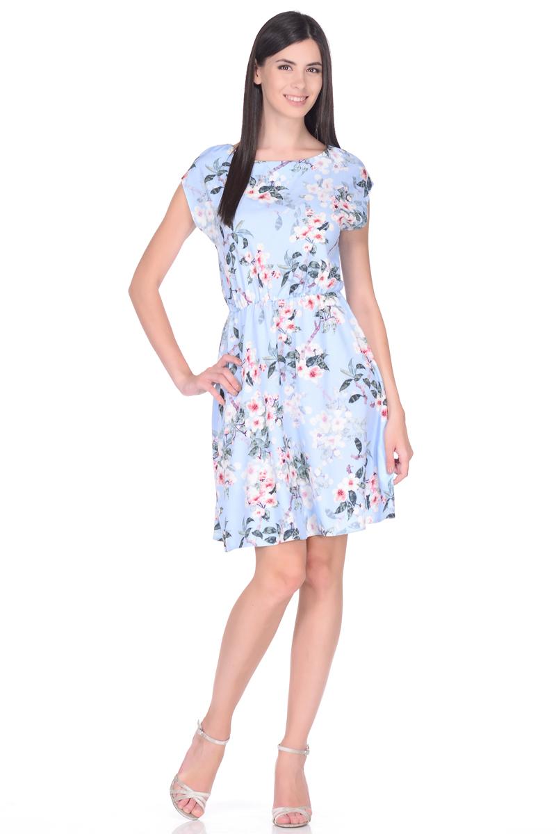 Платье EseMos, цвет: голубой, розовый. 108. Размер 50108Яркое летнее платье EseMos выполнено из струящейся ткани в изысканной современной расцветке. Женственный силуэт без рукавов, изящно присобран по талии на мягкую резиночку, образуя плавные ниспадающие складки по юбке. Спущенная пройма лишь слегка прикрывает плечи. Модель превосходно садится по фигуре, скрывая возможные несовершенства, подчеркивает достоинства, дарит ощущения легкости и комфорта.