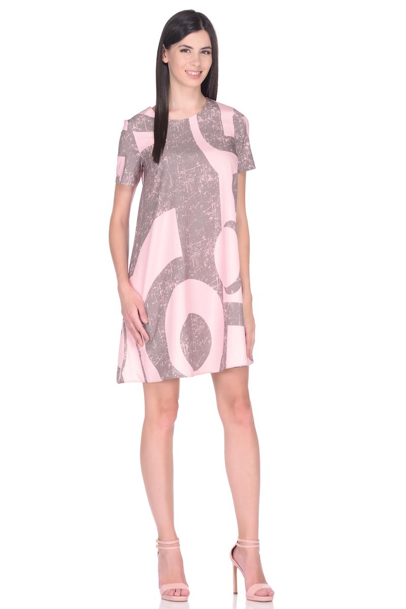 Платье EseMos, цвет: розовый, светло-коричневый. 114. Размер 48114Стильное платье EseMos трапециевидного силуэта, с короткими рукавами и округлым вырезом горловины. Платье выполнено из искусственного шелка, материал в красивой расцветке, приятный, легкий и почти не мнется. Такое платье подходит для фигуры любого типа, скрывая несовершенства, подчеркивает достоинства, дарит комфорт и свободу движениям.