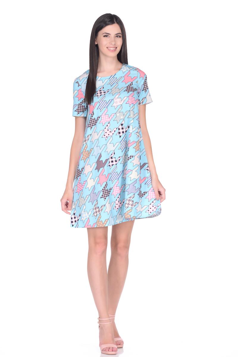 Платье EseMos, цвет: розовый, коричневый, голубой. 114. Размер 46114Стильное платье EseMos трапециевидного силуэта, с короткими рукавами и округлым вырезом горловины. Платье выполнено из искусственного шелка, материал в красивой расцветке, приятный, легкий и почти не мнется. Такое платье подходит для фигуры любого типа, скрывая несовершенства, подчеркивает достоинства, дарит комфорт и свободу движениям.