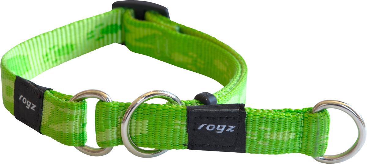 Полуудавка для собак Rogz Alpinist, цвет: зеленый, ширина 1,6 см. Размер M полуудавка для собак rogz alpinist цвет золотистый ширина 6 см размер l