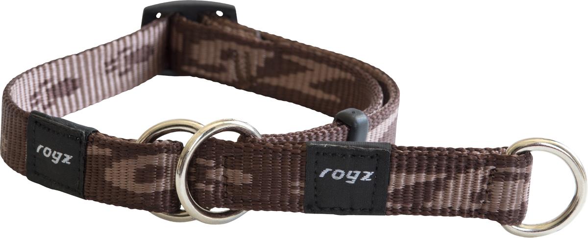 Полуудавка для собак Rogz Alpinist, цвет: коричневый, ширина 1,6 см. Размер MHBC23JОшейник-полуудавка Rogz Alpinist изготовлен из нейлона, металла и пластика. Высококачественные ленты Rogz мягкие в руках, но обладают высокой прочностью. Особое плетение полотна способствует увеличению уровня прочности и защиты. Специальная конструкция пряжки Rog Loc - очень крепкая (система Fort Knox). Замок может быть расстегнут только рукой человека. Технология распределения нагрузки позволяет снизить нагрузку на пряжки, изготовленные из титанового пластика, с помощью правильного и разумного расположения грузовых колец.Особые контурные пластиковые компоненты. Специальная округлая форма конструкции позволяет ошейнику комфортно облегать шею собаки.Выполненные специально по заказу Rogz литые кольца гальванически хромированы, что позволяет избежать коррозии и потускнения изделия.