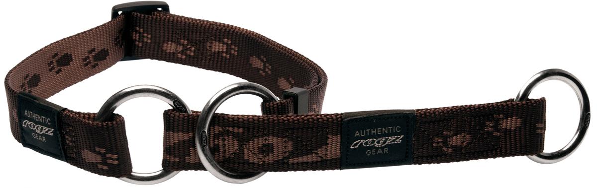 Полуудавка для собак Rogz Alpinist, цвет: коричневый, ширина 3 см. Размер LHBC25JОшейник-полуудавка Rogz Alpinist изготовлен из нейлона, металла и пластика. Высококачественные ленты Rogz мягкие в руках, но обладают высокой прочностью. Особое плетение полотна способствует увеличению уровня прочности и защиты. Специальная конструкция пряжки Rog Loc - очень крепкая (система Fort Knox). Замок может быть расстегнут только рукой человека. Технология распределения нагрузки позволяет снизить нагрузку на пряжки, изготовленные из титанового пластика, с помощью правильного и разумного расположения грузовых колец.Особые контурные пластиковые компоненты. Специальная округлая форма конструкции позволяет ошейнику комфортно облегать шею собаки.Выполненные специально по заказу Rogz литые кольца гальванически хромированы, что позволяет избежать коррозии и потускнения изделия.