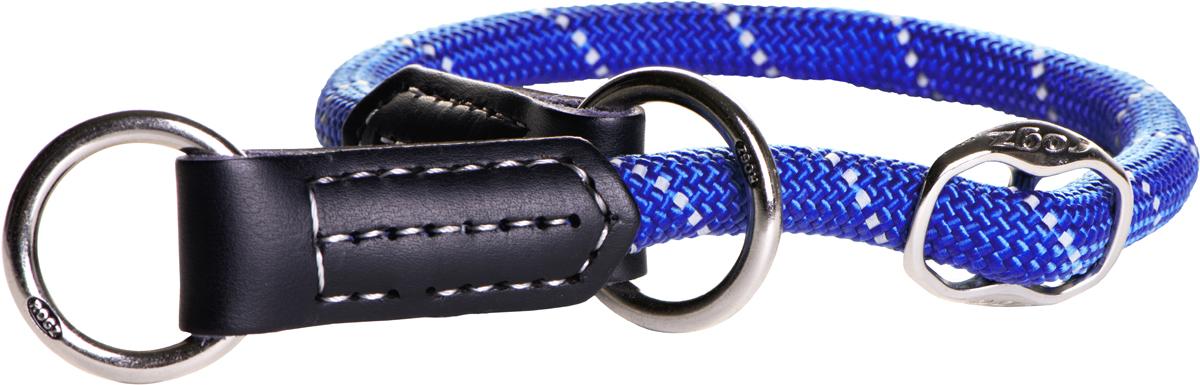 Полуудавка для собак Rogz Rope, цвет: синий, ширина 0,9 см. Размер M. HBR0940HBR0940BПолуудавка для собак Rogz Rope сделана из очень мягкого, но прочного нейлона, который не причинит неудобства собаке. Высококачественная тесьма особого плетения, удивительно мягкая на ощупь, не стирает и не путает шерсть даже длинношерстным собакам. Особо прочный закругленный нейлон препятствует разгрызанию и деформации изделий, а узкая поверхность ошейников-полуудавок помогает при дрессуре, мешая собаке тянуть поводок.Выполненные по заказу литые кольца выдерживают значительные физические нагрузки и имеют хромирование, нанесенное гальваническим способом, что позволяет избежать коррозии и потускнения изделия.Светоотражающая нить, вплетенная в нейлоновую ленту, обеспечивает видимость животного в темное время суток.Элементы изделия выполнены из 100% кожи. Полотно: нейлон. Манжета: 100% натуральная кожа.