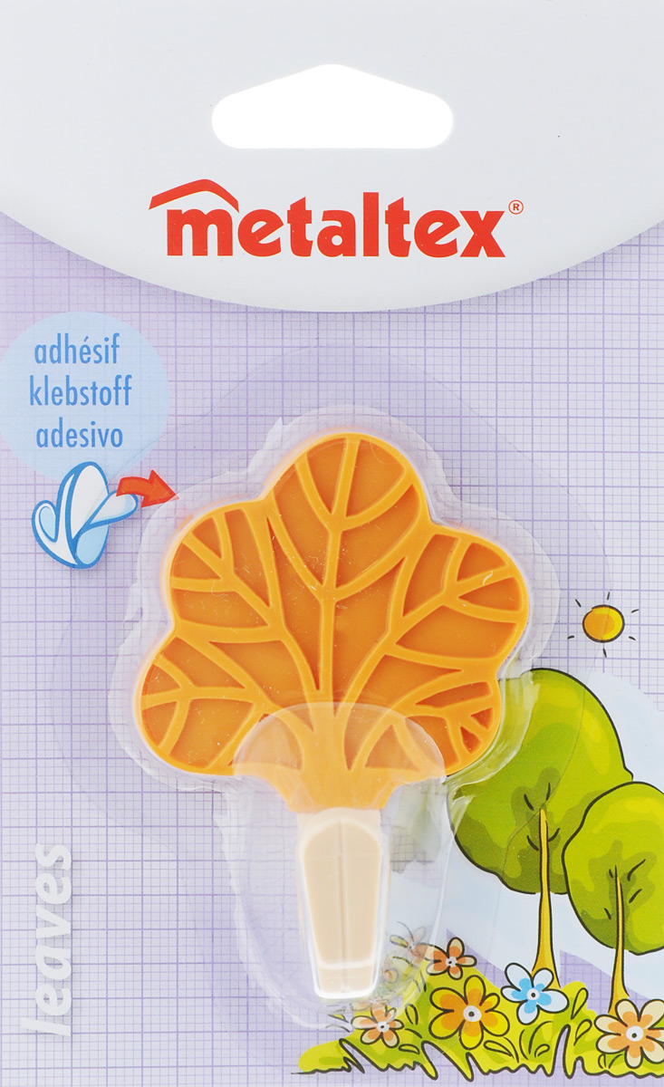 Крючок настенный Metaltex Leaves. Лист, цвет: оранжевый, 5,5 х 8 х 4 см крючок двойной metaltex eureka