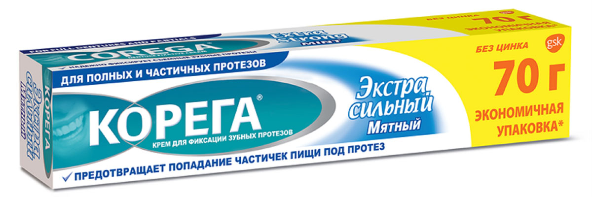 Корега Крем для фиксации зубных протезов Экстра сильный мятный, туба, 70 г223096Крем для фиксации зубных протезов, надежно и безопасно.