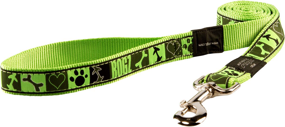 Поводок для собак Rogz Fancy Dress, цвет: салатовый, ширина 2 смHL03CFПоводок для собак Rogz Fancy Dress с потрясающе красивым орнаментом на прочной тесьме поверх нейлоновой ленты украсит вашего питомца.Необыкновенно крепкий и прочный поводок.Выполненные по заказу литые кольца выдерживают значительные физические нагрузки и имеют хромирование, нанесенное гальваническим способом, что позволяет избежать коррозии и потускнения изделия.