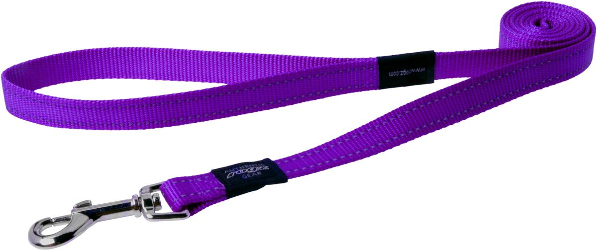 Поводок для собак Rogz Utility, цвет: фиолетовый, ширина 2 см. Размер LHL06EПоводок для собак Rogz Utility  со светоотражающей нитью, вплетенной в нейлоновую ленту, обеспечивает лучшую видимость собаки в темное время суток. Специальная конструкция пряжки Rog Loc - очень крепкая (система Fort Knox). Замок может быть расстегнут только рукой человека. Технология распределения нагрузки позволяет снизить нагрузку на пряжки, изготовленные из титанового пластика, с помощью правильного и разумного расположения грузовых колец, благодаря чему, даже при самых сильных рывках, изделие не рвется и не деформируется.Выполненные специально по заказу ROGZ литые кольца гальванически хромированы, что позволяет избежать коррозии и потускнения изделия.