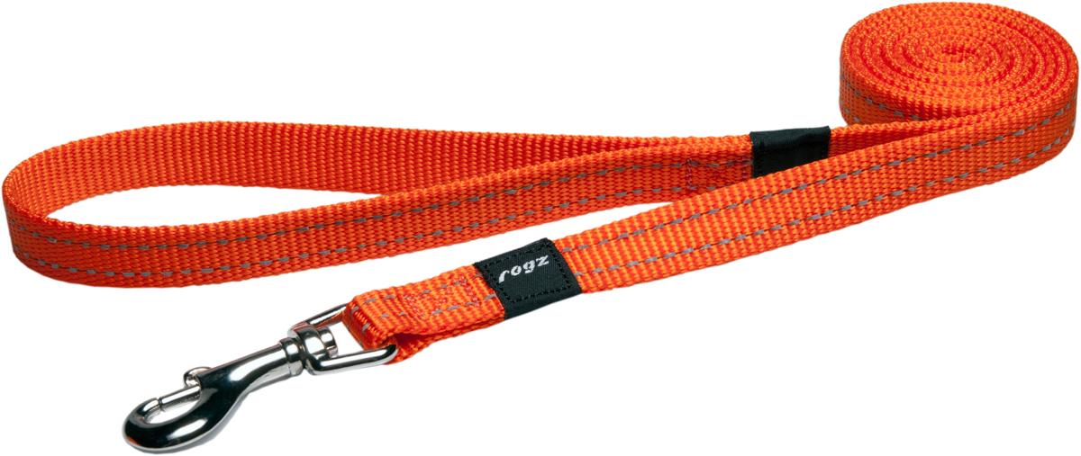 Поводок для собак Rogz Utility, цвет: оранжевый, ширина 1,6 см. Размер MHL11DПоводок для собак Rogz Utility  со светоотражающей нитью, вплетенной в нейлоновую ленту, обеспечивает лучшую видимость собаки в темное время суток. Специальная конструкция пряжки Rog Loc - очень крепкая (система Fort Knox). Замок может быть расстегнут только рукой человека. Технология распределения нагрузки позволяет снизить нагрузку на пряжки, изготовленные из титанового пластика, с помощью правильного и разумного расположения грузовых колец, благодаря чему, даже при самых сильных рывках, изделие не рвется и не деформируется.Выполненные специально по заказу ROGZ литые кольца гальванически хромированы, что позволяет избежать коррозии и потускнения изделия.