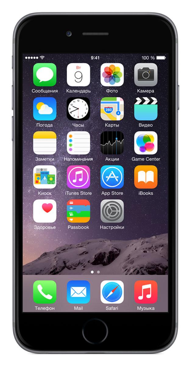 Apple iPhone 6 32GB, Space GreyMQ3D2RU/AiPhone 6 не просто больше. Он лучше во всех отношениях. Больше, но при этом значительно тоньше. Мощнее, но при этом исключительно экономичный. Его гладкая металлическая поверхность плавно переходит в стекло нового HD-дисплея Retina, образуя цельный, законченный дизайн. Его аппаратная часть идеально работает с программным обеспечением. Это новое поколение iPhone, улучшенное во всём.Корпус смартфона изготовлен из красивого анодированного алюминия, нержавеющей стали и стекла. Взяв iPhone 6 в руку, вы сразу почувствуете, насколько удобно его держать. Стекло экрана закругляется по бокам и плавно переходит в корпус из анодированного алюминия, образуя исключительный в своей простоте дизайн. Нет никаких видимых границ. Никаких зазоров. Это безупречное сопряжение стекла и металла, которое кажется единой непрерывной поверхностью. Более плавные жесты смахивания в iOS становятся органичным продолжением цельной формы iPhone, что позволяет легко управлять им одной рукой. А новые функции, такие как Доступ, предоставляют дополнительные возможности взаимодействия с более крупным дисплеем. Дважды коснитесь кнопки Домой, и весь интерфейс сместится вниз, ближе к вашему большому пальцу. Что бы вы ни делали на iPhone - всё это отображается на HD-дисплее Retina. Поэтому он просто обязан быть превосходным. На iPhone 6 именно такие дисплей - с полной поддержкой цветового стандарта sRGB, увеличенным углом обзора, улучшенным, поляризатором,контрастом и невероятными показателями яркости и баланса белого. Теперь есть несколько способов отображения контента на дисплее. В стандартном режиме на нём помещается больше приложений. А функция масштабирования позволяет сделать их крупнее, как и любой другой контент.iPhone 6 оснащается процессором A8, в основе которого лежит 64-разрядная архитектура второго поколения уровня настольного компьютера. Эту невероятную мощность дополняет сопроцессор движения M8. Он эффективно обрабатывает данные о ваших действиях, получа