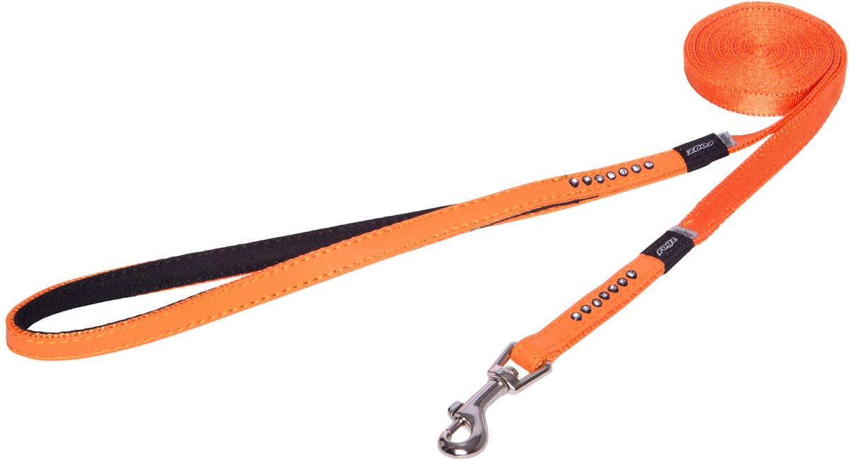 Поводок для собак Rogz Luna, удлиненный, цвет: оранжевый, ширина 1,1 см. Размер XSHLL500DПоводок для собак Rogz Luna изготовлен из 100% полиэстера, искусственной кожи и снабжен металлическим карабином. Поводок украшен стразами.Поводок отличается не только исключительной надежностью и удобством, но и ярким дизайном. Он идеально подойдет для активных собак, для прогулок на природе и охоты. Поводок - необходимый аксессуар для собаки. Ведь в опасных ситуациях именно он способен спасти жизнь вашему любимому питомцу.