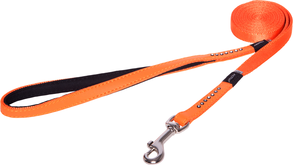 Поводок для собак Rogz Luna, удлиненный, цвет: оранжевый, ширина 1,3 см. Размер SHLL501DПоводок для собак Rogz Luna изготовлен из 100% полиэстера, искусственной кожи и снабжен металлическим карабином. Поводок украшен стразами.Поводок отличается не только исключительной надежностью и удобством, но и ярким дизайном. Он идеально подойдет для активных собак, для прогулок на природе и охоты. Поводок - необходимый аксессуар для собаки. Ведь в опасных ситуациях именно он способен спасти жизнь вашему любимому питомцу.