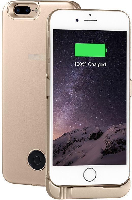 Interstep чехол-аккумулятор для iPhone 7P/6Plus, Gold (5000 мАч)51433Тонкий корпус из легкого сплава алюминия всего 8мм.Встроенный аккумулятор 5000 мАч polymer, это +125% заряда смартфона.Вход питания клипа 8 pin (идентичен входу питания смартфона).Поддержка сквозного заряда - заряжает iPhone, когда заряжается сам чехол-аккумулятор (поставив на ночь на зарядку - с утра оба устройства будут заряжены).Тип аккумулятора: polymer до x1000 циклов.Вес: 145 г. Вход питания служит только для заряда, передача данных и аудио - не поддерживается.Время заряда чехла: около 5 часов.Время заряда чехол+смартфон: около 8 часов.Совместимость: iPhone 6 Plus, iPhone 7Plus.Комплектность: чехол-аккумулятор (кабель 8пин в комплект не входит).