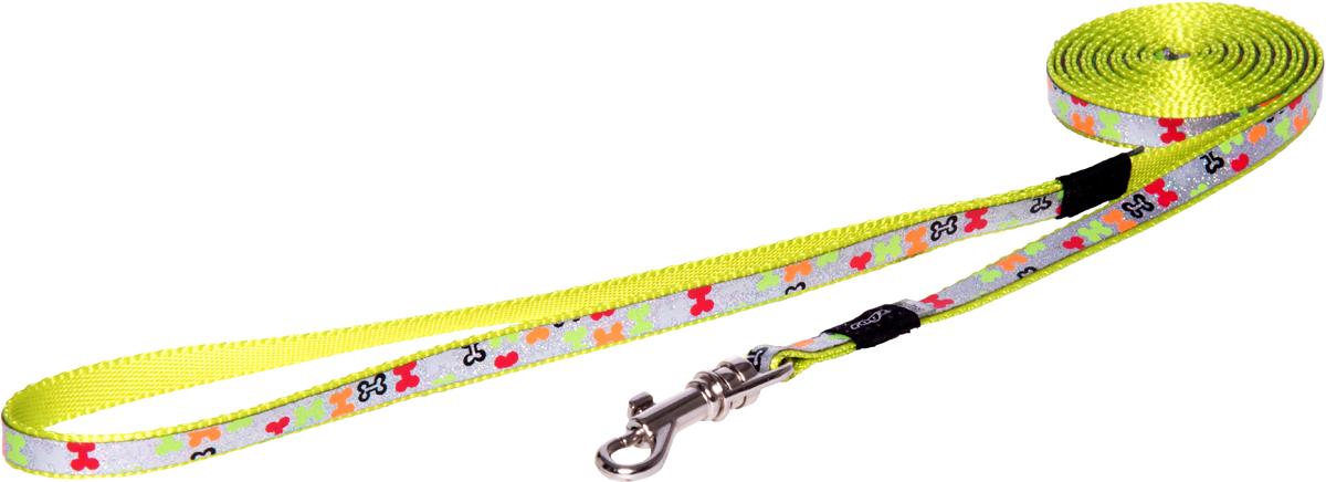 Поводок для собак Rogz Trendy, удлиненный, цвет: салатовый, ширина 0,8 смHLL520LПоводок для собак Rogz Trendy с веселым и ярким дизайном очень прочный и гибкий.Светоотражающие материалы для обеспечения лучшей видимости собаки в темное время суток.