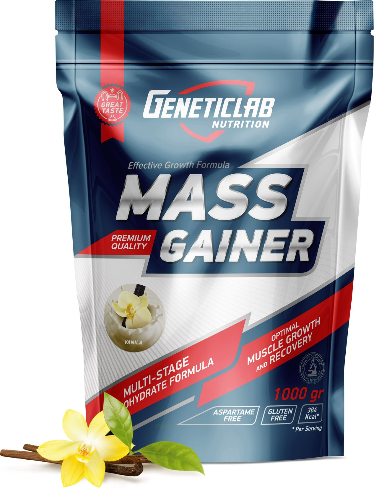 Гейнер Geneticlab Mass Gainer , ваниль, 1000 г гейнер geneticlab nutrition mass gainer шоколад 1000 г