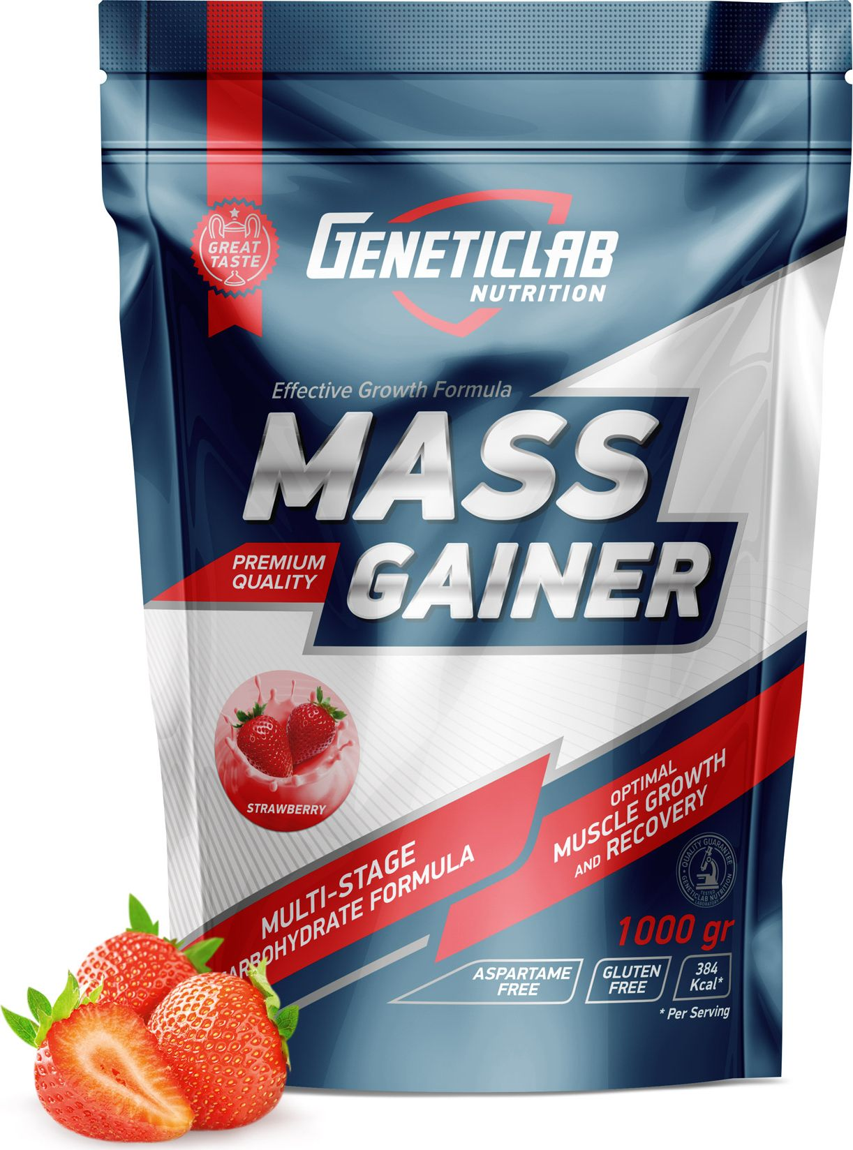Гейнер Geneticlab Mass Gainer , клубника, 1000 г