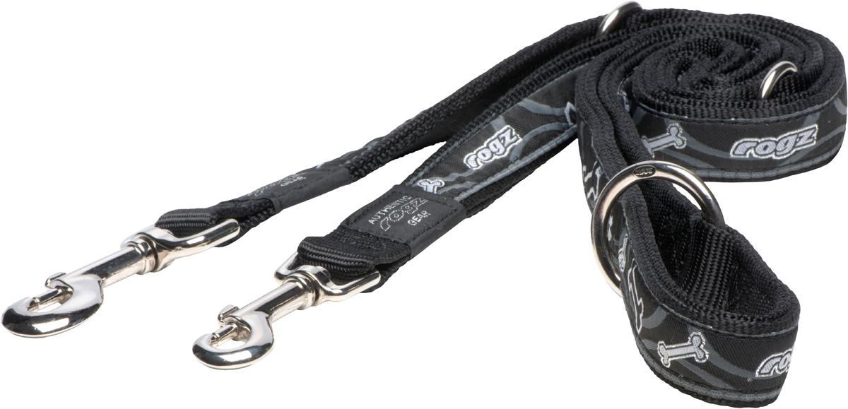 Поводок-перестежка для собак Rogz Fancy Dress, цвет: синий, ширина 2 смHLM03CBПоводок перестежка для собак Rogz Fancy Dress с потрясающе красивым орнаментом на прочной тесьме поверх нейлоновой ленты украсит вашего питомца.Очень крепкое и прочное изделие.Многофункциональный поводок-перестежку можно использовать как: поводок для двух собак; короткий, средний или удлиненный поводок (1м, 1.3м, 1.6м); поводок через плечо; временную привязь.Выполненные по заказу литые кольца выдерживают значительные физические нагрузки и имеют хромирование, нанесенное гальваническим способом, что позволяет избежать коррозии и потускнения изделия.