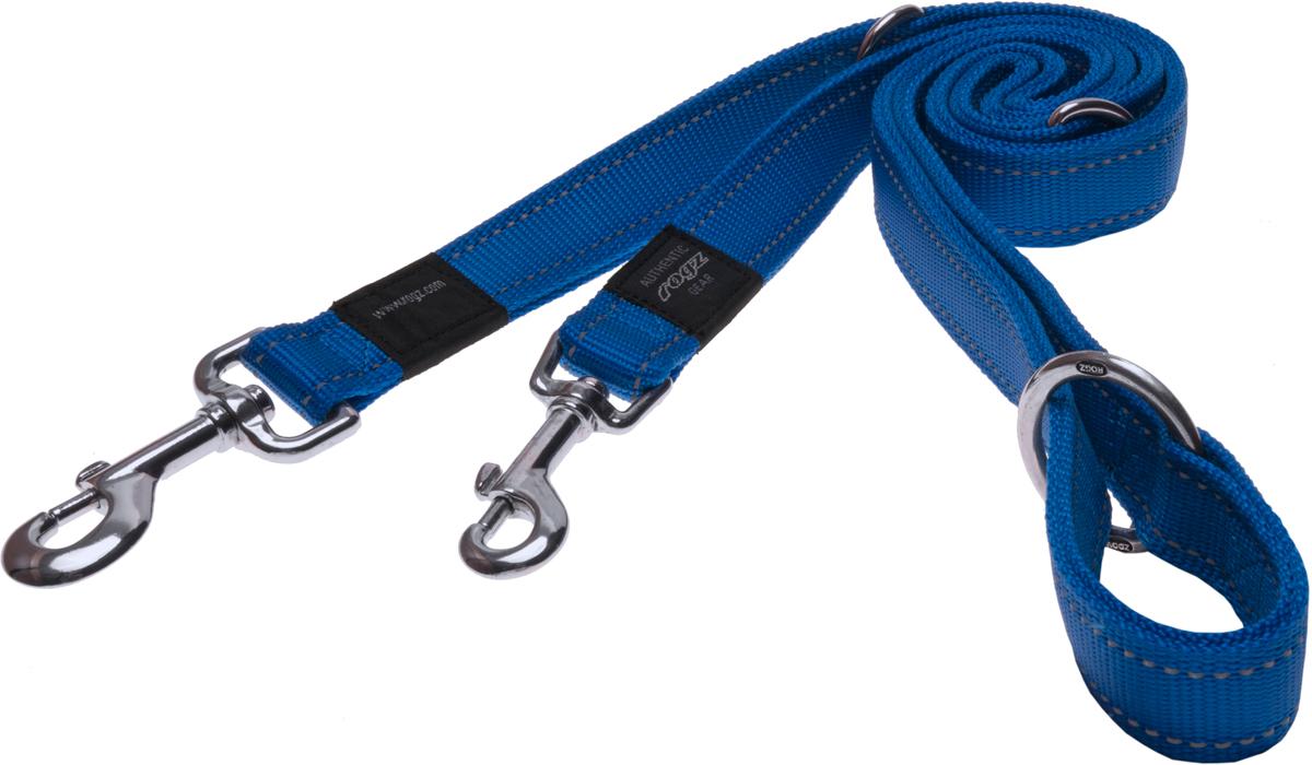 Поводок-перестежка для собак Rogz Utility, цвет: синий, ширина 2,5 см. Размер XLHLM05BПоводок-перестежка для собак Rogz Utility  со светоотражающей нитью, вплетенной в нейлоновую ленту, обеспечивает лучшую видимость собаки в темное время суток. Специальная конструкция пряжки Rog Loc - очень крепкая (система Fort Knox). Замок может быть расстегнут только рукой человека. Технология распределения нагрузки позволяет снизить нагрузку на пряжки, изготовленные из титанового пластика, с помощью правильного и разумного расположения грузовых колец, благодаря чему, даже при самых сильных рывках, изделие не рвется и не деформируется.Выполненные специально по заказу ROGZ литые кольца гальванически хромированы, что позволяет избежать коррозии и потускнения изделия. Многофункциональный поводок-перестежку можно использовать как: поводок для двух собак; короткий, средний или удлиненный поводок (1м, 1.3м, 1.6м); поводок через плечо; временную привязь.