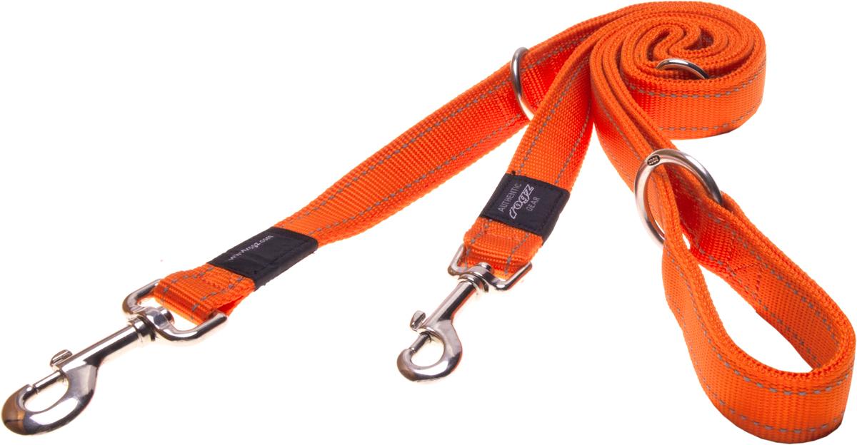Поводок-перестежка для собак Rogz Utility, цвет: оранжевый, ширина 2,5 см. Размер XLHLM05DПоводок-перестежка для собак Rogz Utility  со светоотражающей нитью, вплетенной в нейлоновую ленту, обеспечивает лучшую видимость собаки в темное время суток. Специальная конструкция пряжки Rog Loc - очень крепкая (система Fort Knox). Замок может быть расстегнут только рукой человека. Технология распределения нагрузки позволяет снизить нагрузку на пряжки, изготовленные из титанового пластика, с помощью правильного и разумного расположения грузовых колец, благодаря чему, даже при самых сильных рывках, изделие не рвется и не деформируется.Выполненные специально по заказу ROGZ литые кольца гальванически хромированы, что позволяет избежать коррозии и потускнения изделия. Многофункциональный поводок-перестежку можно использовать как: поводок для двух собак; короткий, средний или удлиненный поводок (1м, 1.3м, 1.6м); поводок через плечо; временную привязь.